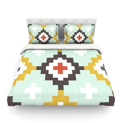 Moroccan by Pellerina Design Featherweight Duvet Cover Color: Mint, Size: King/California King