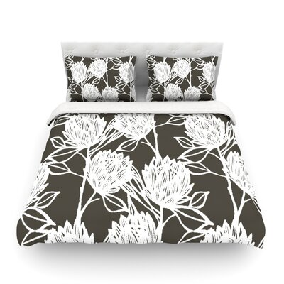 Protea Olive by Gill Eggleston Woven Duvet Cover Size: Queen