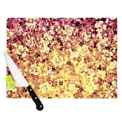 "Flower Power by Ebi Emporium Cutting Board Size: 0.5"" H x 11"" W x 7.5"" D, Color: Yellow/Orange Glitter JD1053BCB01"