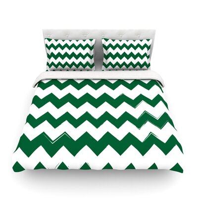 Monogram Chevron Green Woven Duvet Cover Size: Queen