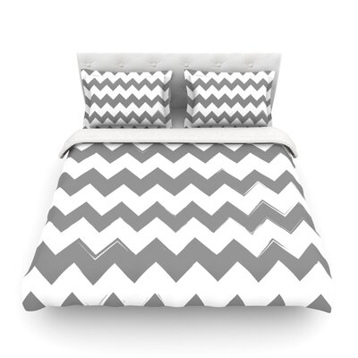 Monogram Chevron Tan Woven Duvet Cover Size: Queen