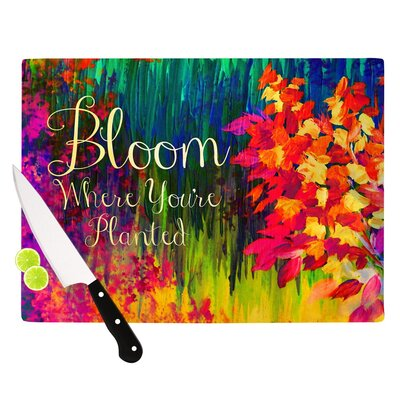 "Bloom Where You're Planted by Ebi Emporium Floral Cutting Board Size: 0.5"" H x 15.75"" W x 11.5"" D"