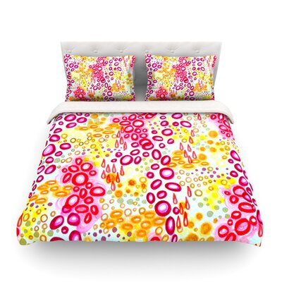 Circular Persuasion Pink Yellow by Ebi Emporium Woven Duvet Cover Size: King/California King