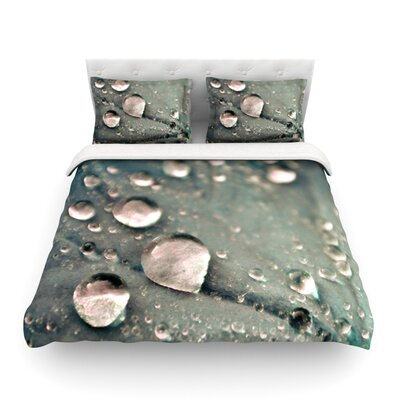 Water Droplets by Iris Lehnhardt Featherweight Duvet Cover Size: Twin, Color: Green, Fabric: Woven Polyester