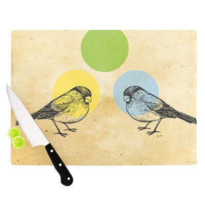 "Green by Sreetama Ray Paper Birds Cutting Board Size: 0.5"" H x 15.75"" W x 11.5"" D SR1005ACB02"