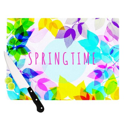 "Seasons Springtime by Sreetama Ray Rainbow Leaves Cutting Board Size: 0.5"" H x 15.75"" W x 11.5"" D SR1010ACB02"