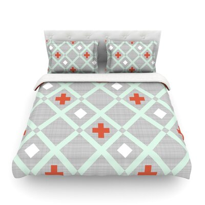 Mint Lattice Weave by Pellerina Design Featherweight Duvet Cover Size: Queen, Fabric: Lightweight Polyester