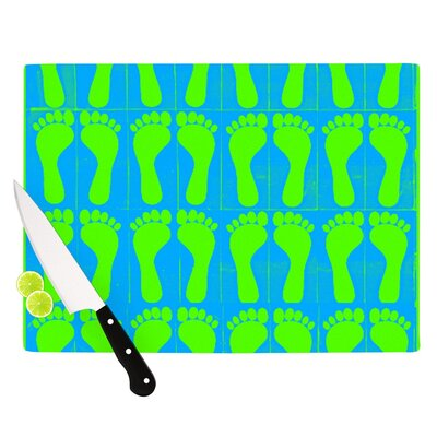 "Footprints by Sreetama Ray Cutting Board Size: 0.5"" H x 11"" W x 7.5"" D, Color: Green/Blue SR1022BCB01"