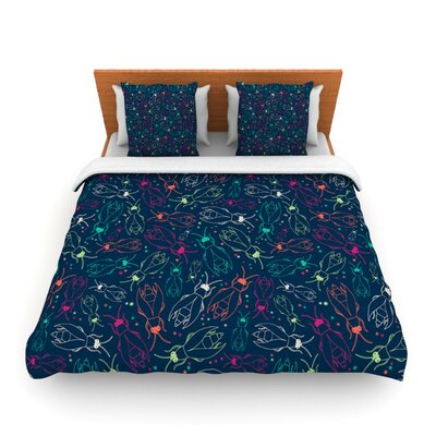 Fireflies Midnight Garden by Laura Escalante Woven Duvet Cover Size: King/California King