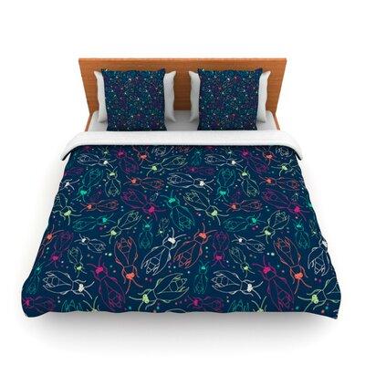 Fireflies Midnight Garden by Laura Escalante Woven Duvet Cover Size: Twin