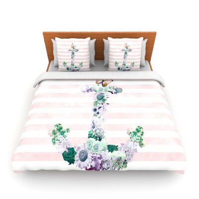 Floral Anchor by Nika Martinez Woven Duvet Cover Size: Twin