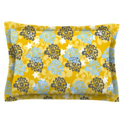 Blue and Yellow Flowers by Nandita Singh Featherweight Pillow Sham Size: Queen, Fabric: Woven Polyester