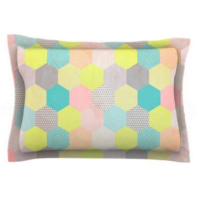 Pastel Hexagon by Louise Machado Featherweight Pillow Sham Size: Queen, Fabric: Cotton