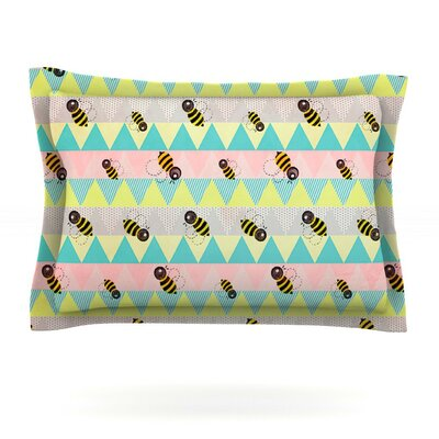 Little Bee by Louise Machado Featherweight Pillow Sham Size: Queen, Fabric: Cotton