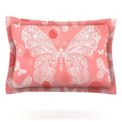 Butterfly Dreams by Monika Strigel Featherweight Pillow Sham Size: Queen, Color: Pink/White, Fabric: Cotton