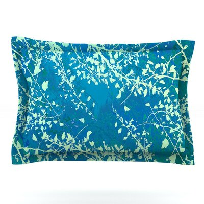 Twigs Silhouette by Iris Lehnhardt Featherweight Pillow Sham Size: Queen, Color: Teal/Aqua/Green