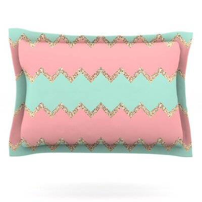 Avalon Soft Coral and Mint Chevron by Monika Strigel Featherweight Pillow Sham Size: Queen