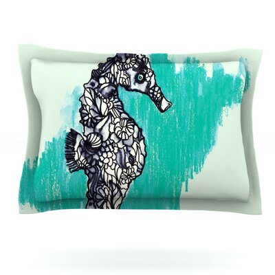 Seahorse by Sonal Nathwani Featherweight Pillow Sham Size: Queen, Fabric: Cotton