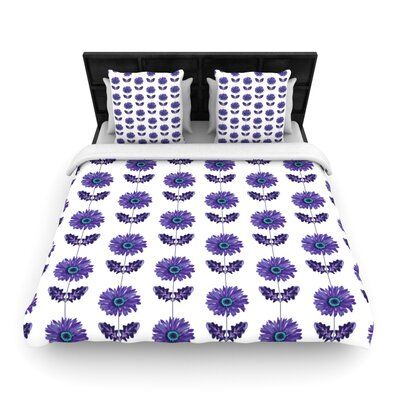 Purple Gerbera by Laura Escalante Woven Duvet Cover Size: Queen