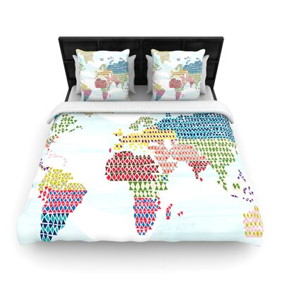 Geo Map by Agnes Schugardt Woven Duvet Cover Size: Twin