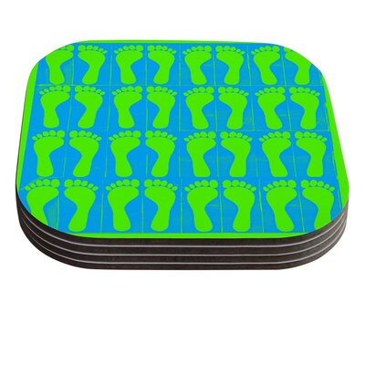 Footprints by Sreetama Ray Coaster Color: Green/Blue SR1022BCR01