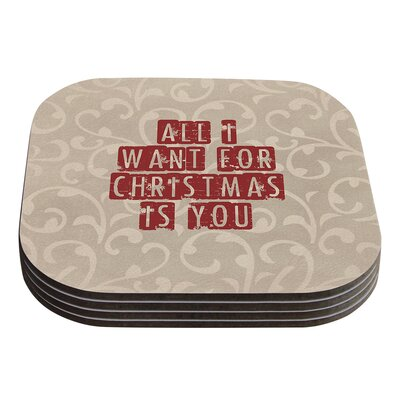 All I Want For Christmas by Sylvia Cook Holiday Coaster