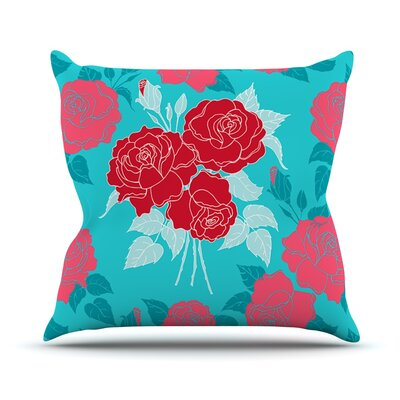 Summer Rose by Anneline Sophia Throw Pillow Size: 26 H x 26 W x 1 D, Color: Red/Blue
