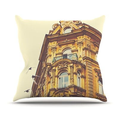 Prague Morning by Ann Barnes Gold Building Throw Pillow Size: 26 H x 26 W x 1 D