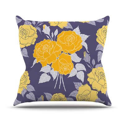 Summer Rose by Anneline Sophia Throw Pillow Color: Yellow/Purple, Size: 26'' H x 26'' W x 1