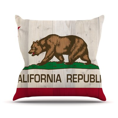 California Flag Wood by Bruce Stanfield Throw Pillow Size: 16 H x 16 W x 1 D