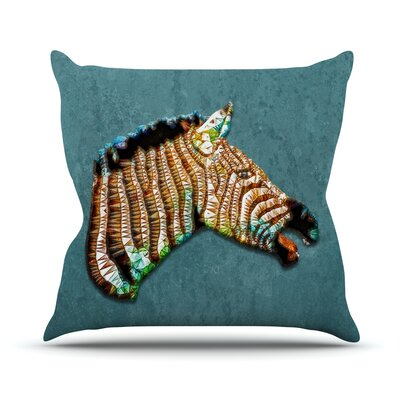 Laughing Zebra by Ancello Throw Pillow Size: 16 H x 16 W x 1 D
