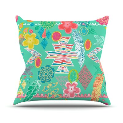 Aztec Boho by Anneline Sophia Rainbow Throw Pillow Size: 26 H x 26 W x 1 D, Color: Teal