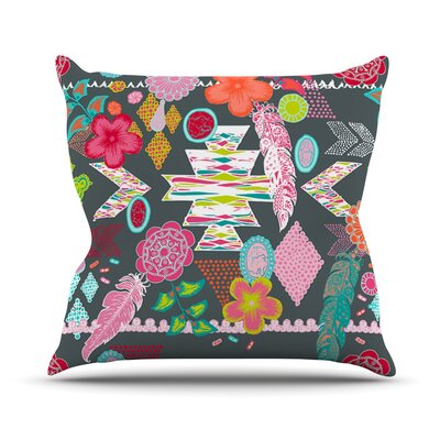 Aztec Boho by Anneline Sophia Rainbow Throw Pillow Size: 18 H x 18 W x 1 D, Color: Gray