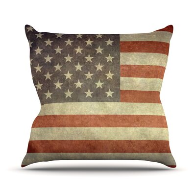 Flag of US Retro by Bruce Stanfield Rustic Throw Pillow Size: 18'' H x 18'' W x 1