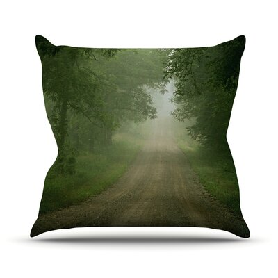 Foggy Road Forest Throw Pillow Size: 26 H x 26 W x 1 D