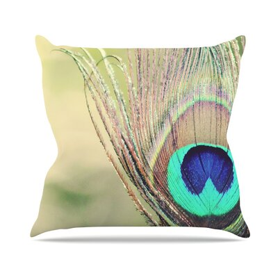 Sun Kissed by Beth Engel Peacock Feather Throw Pillow Size: 16 H x 16 W x 1 D