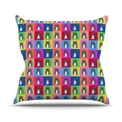 Pussy Cat I Love You by Bruce Stanfield Rainbow Throw Pillow Size: 16 H x 16 W x 1 D