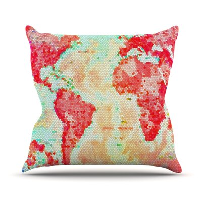 Oh The Places Well Go by Alison Coxon World Map Throw Pillow Size: 20 H x 20 W x 1 D