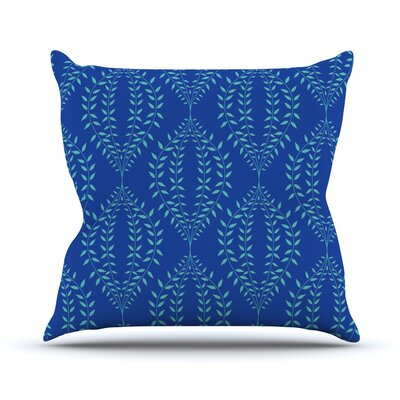 Laurel Leaf Floral Throw Pillow Size: 16 H x 16 W x 1 D, Color: Blue