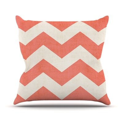 Vintage Coral by Ann Barnes Chevron Throw Pillow Size: 16 H x 16 W x 1 D