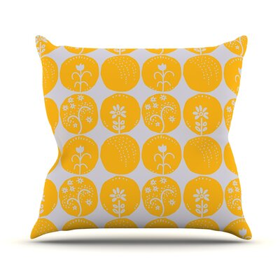 Dotty Papercut by Anneline Sophia Throw Pillow Size: 26 H x 26 W x 1 D, Color: Yellow/Gray