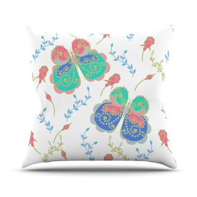 Leafy Butterflies by Anneline Sophia Butterfly Throw Pillow Size: 16 H x 16 W x 1 D, Color: Pink/Teal