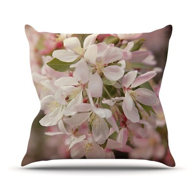 Apple Blossoms Flower Throw Pillow Size: 18 H x 18 W x 1 D