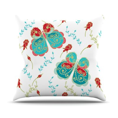 Leafy Butterflies by Anneline Sophia Butterfly Throw Pillow Size: 20 H x 20 W x 1 D, Color: Red/Aqua