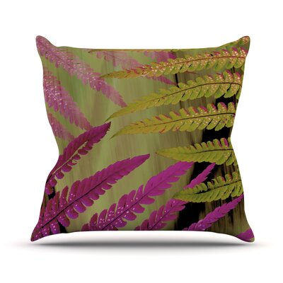 Forest Fern Plant Throw Pillow Size: 26 H x 26 W x 1 D, Color: Mauve/Brown/Pink