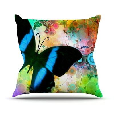 Colorful by alyZen Moonshadow Butterfly Throw Pillow Size: 18 H x 18 W x 1 D