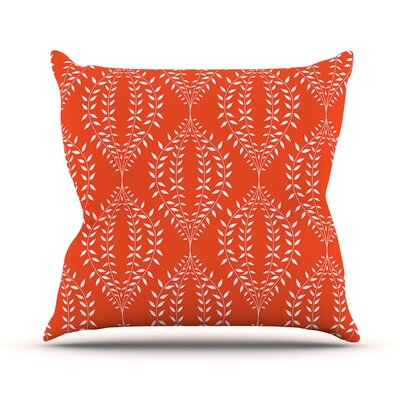 Laurel Leaf Floral Throw Pillow Size: 18 H x 18 W x 1 D, Color: Orange