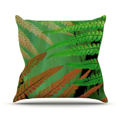 Forest Fern Plant Throw Pillow Size: 26 H x 26 W x 1 D, Color: Russet/Green/Brown