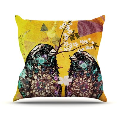 Birds In Love by alyZen Moonshadow Throw Pillow Size: 20 H x 20 W x 1 D, Color: Yellow/Orange
