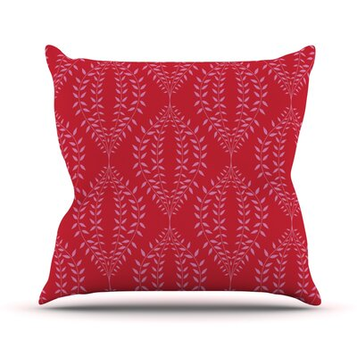 Laurel Leaf Floral Throw Pillow Size: 18 H x 18 W x 1 D, Color: Red